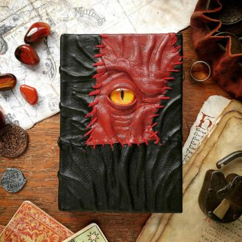 Red necronomicon - red leather patch by MilleCuirs