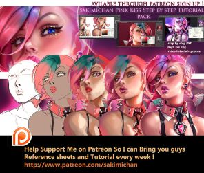 Pink Kiss girl Tutorial pack by sakimichan