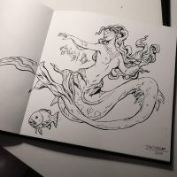 Inktober day 4: underwater mermaid by Jordy-Knoop