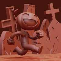 Gonna miss the halloween party - clay rendering by m7