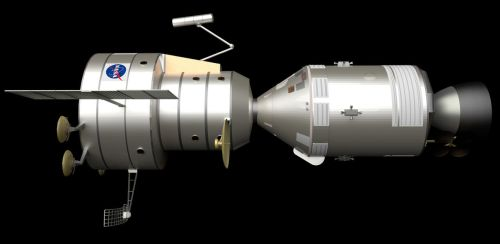 Apollo Venus Flyby Spacecraft: Profile-View by William-Black