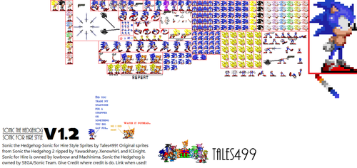Sonic for Hire- Sonic the Hedgehog Sprites V 1.2 by Tales499