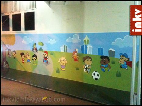 Mural of the children in the playground by Aranir