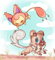 Skitty and Rockruff :3