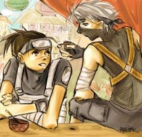 younger iruka and kakashi by saucywench