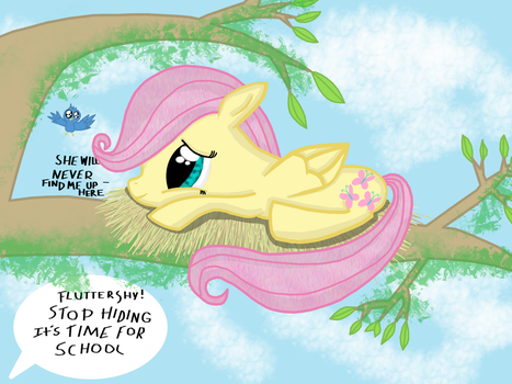 Fluttershy getting ready for school by SunTwirler