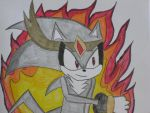 King Pain with red fire by cat55