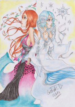 Rukia and Orihime like winter and autumn by NeoAngeliqueAbyss