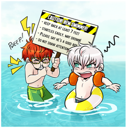 Swimsuit Chibi Choi Twins by TheSakeBobomb