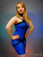Mademoiselle Ilo - Sapphire latex dress - Model Ja by Mademoiselle-Ilo