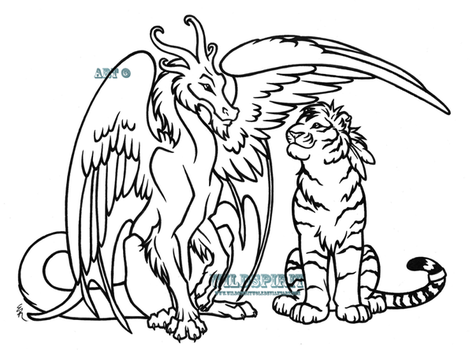 Dragon And Tiger Lineart by WildSpiritWolf