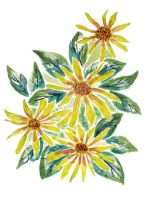 Yellow Watercolor Flowers by MarcHorn