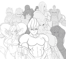 :Commission: :Lineart: Warmen Group by darkzero779