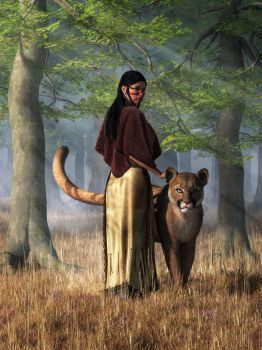 Woman with Mountain Lion by deskridge
