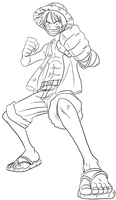 luffy - lineart by ElseWhereLand