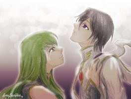 Are you still here? CC and Lelouche by AmySunHee