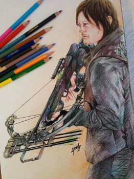 The Walking Dead - Daryl Dixon [Coloured Pencils] by l3earFat