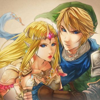Link and Zelda by ilaBarattolo