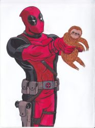 Deadpool and the stuffed toy sloth by Pepples93