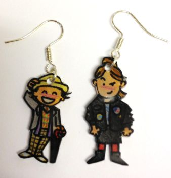Kawaii 7th Doctor and Ace earrings by Lovelyruthie