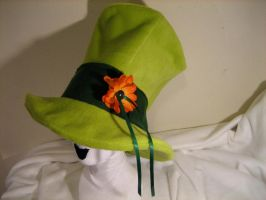 TOP HAT Green with Flower by tacksidermia