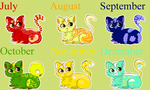 (OPEN) Month Themed Chibi Kitten Adopts by Alouette-of-Artistry