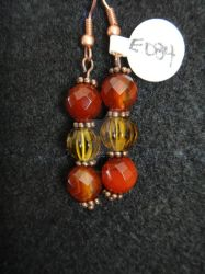 Carnelian and Amber Beaded Earrings by TheCraftyMaiden