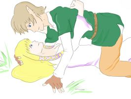 Link and zelda, skyward sword by Windwolf667