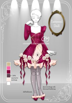 (OPEN) Tattered Doll: Adoptable Outfit #2 by Citrine-K