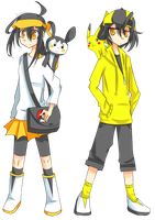 Reizo and Rena as Pokemon Trainers by Kream-Cheese