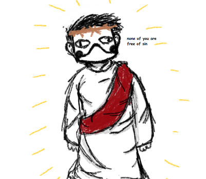 Zacharie cosplays as Jesus for the Christmas play by TheSinSquad