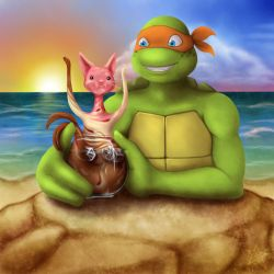 Mikey and Ice Cream Kitty at the Beach by KampieStarz