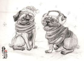 Winter Pugs by AlbinaDiamond