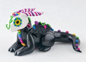 Sugar Skull Clay Dragon by HowManyDragons