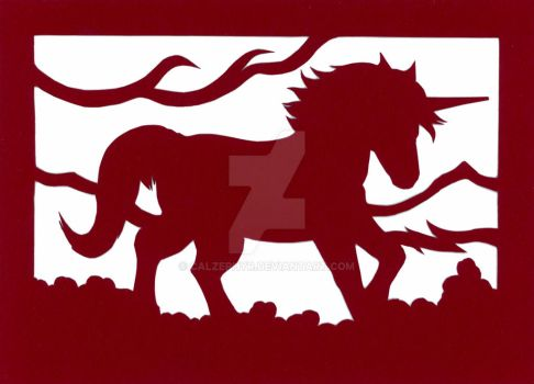 Red Unicorn Papercut by calzephyr