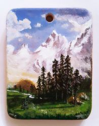 Wooden pendant Albert Bierstadt miniature painting by Aijoku