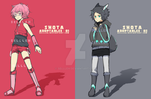Shota Adoptables - Pink/Black [CLOSED] by Sellleh
