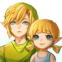 wind waker -- aryll and big bro by onisuu