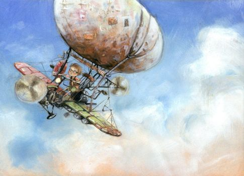 Boy and Flying Machine by GabrielEvans
