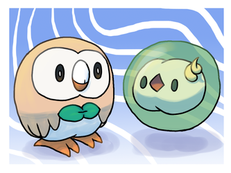 Rowlet and Solosis by Pozem