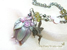 Fairy Green Blueberry Bloom Necklace by EnchantedTokenArt