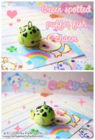 Green Spotted Puffer Charm by MoogleGurl