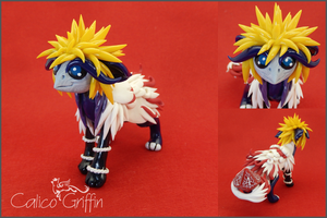 Arashi the dice-griffin - polymer clay by CalicoGriffin