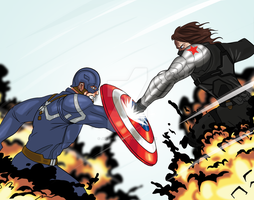 Captain America vs the Winter Soldier by justinbysma