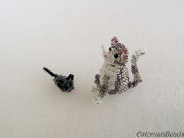 Beaded cat and mouse by EstonianBeads