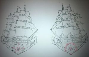 Ship Tattoo Design Old School by booders9