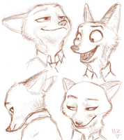 Nick Wilde expressions by MarriArt07