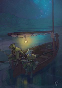 Kakko and Rotis fishing together Csketch by CindyWorks