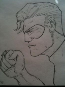 Green Lantern Head Sketch by pharmdown