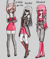 My 3 Female Oc's (full body) by mayonaka19